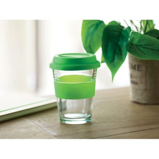 Γυάλινο ποτήρι με καπάκι και λαβή σιλικόνης