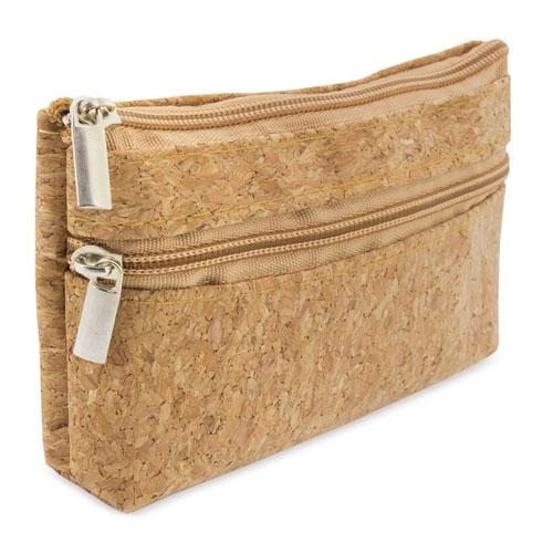 Πορτοφόλι από φελλό με διπλό φερμουάρ 11,5 * 8 * 2