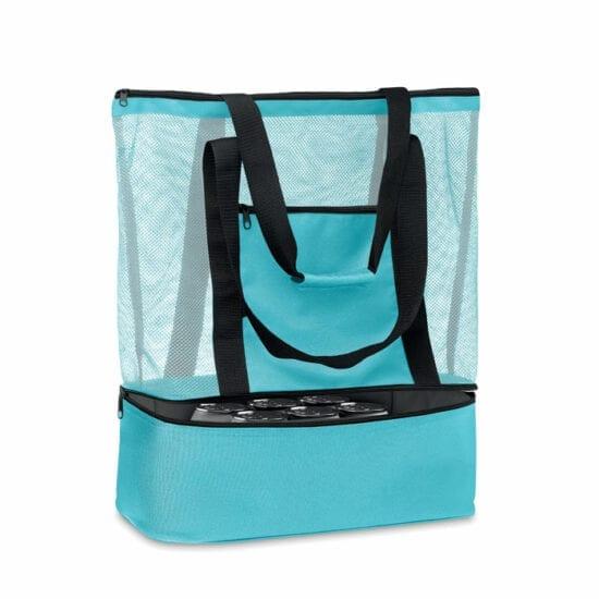 Τσάντα για ψώνια ή τσάντα παραλίας με πλέγμα RPET και μπροστινή τσέπη με φερμουάρ